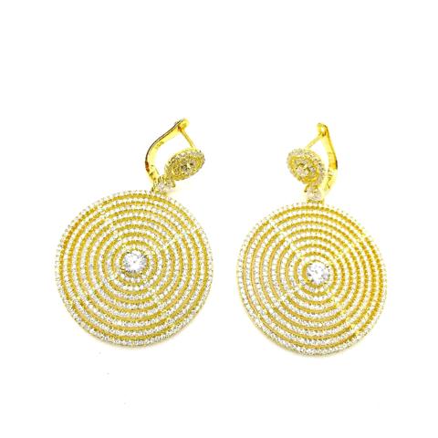 170122- Серьги-круги из серебра в лимонной позолоте с микроцирконами