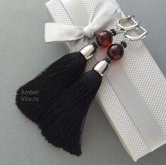 серьги кисти чёрные с янтарём вишнёвым