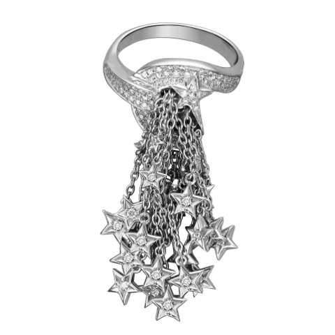 01К6213145- Кольцо Кисточка из белого золота 585 пробы с бриллиантами