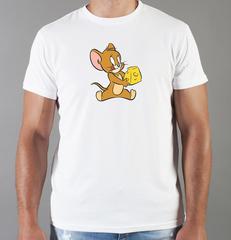 Футболка с принтом мультфильма Tom and Jerry (Том и Джерри), белая 001