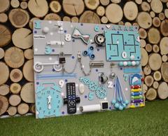 Бизиборд стандарт 50х65 см с ТВ-пультом и ксилофоном Бирюзовый для мальчика