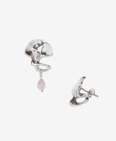 Серебряные косточки с розовым турмалином