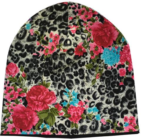 Женская шапочка с леопардовым принтом с букетами цветов