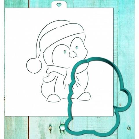 Трафарет+форма «Пингвиненок в рождественском колпаке»