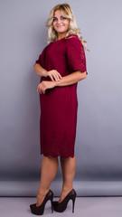 Ажур. Святкова сукня великих розмірів. Бордо.