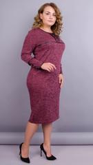Офіс. Жіноча сукня плюс сайз. Бордо.