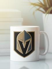 Кружка с рисунком НХЛ Вегас Голден Найтс (NHL Vegas Golden Knights) белая 001