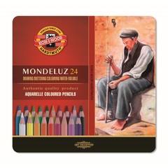 Набор акварельных цветных карандашей Koh-I-Noor 3724BL Mondeluz, 24 цвета, жесть, блистер, европодвес