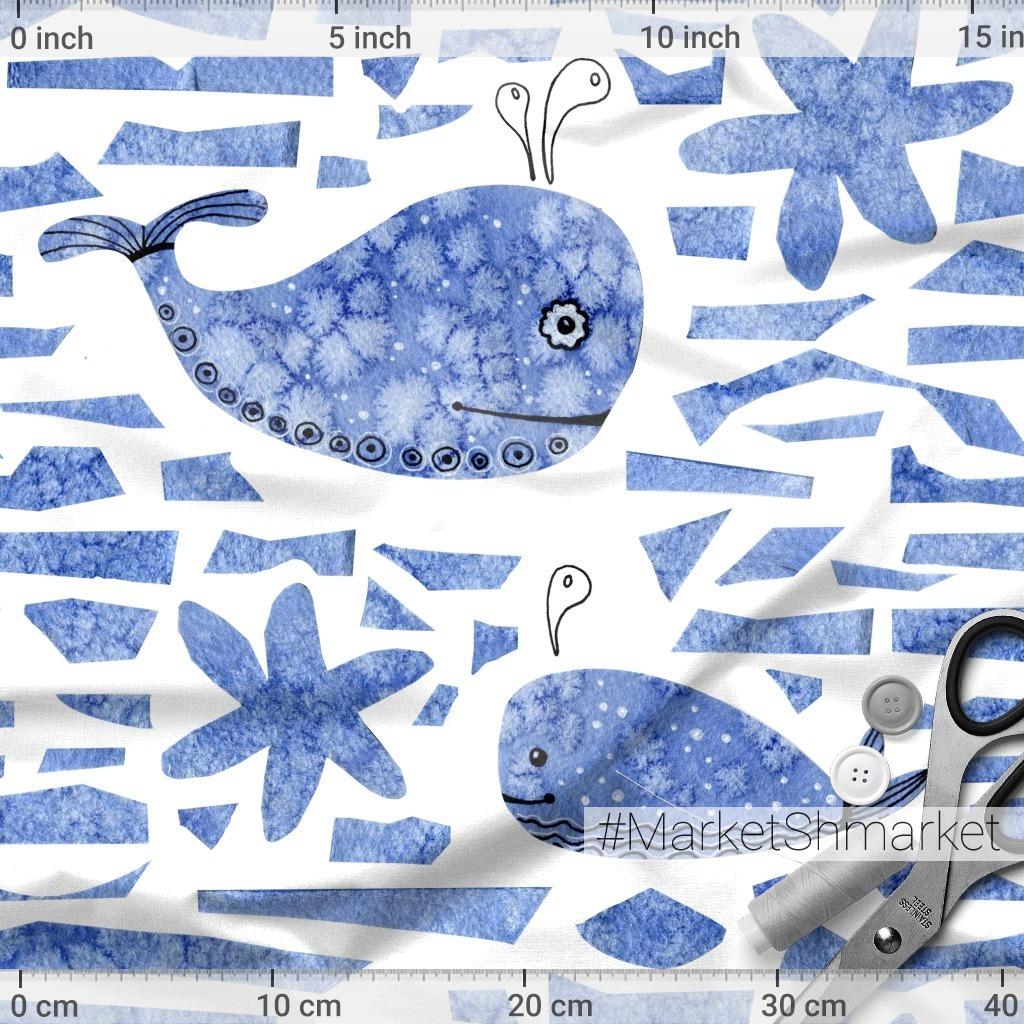 Подводный мир. Акварельные киты.