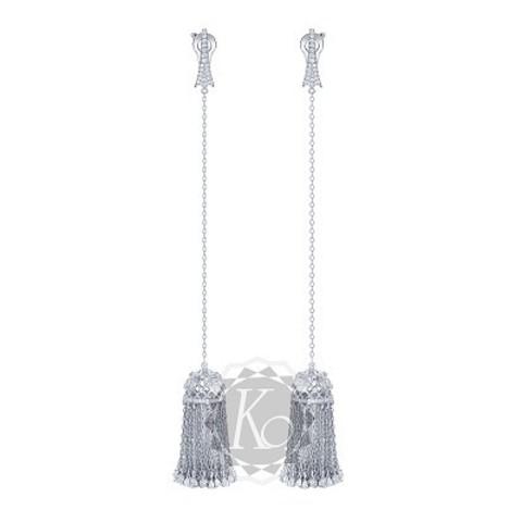 4642 - Серьги длинные из серебра с подвесками кисточками