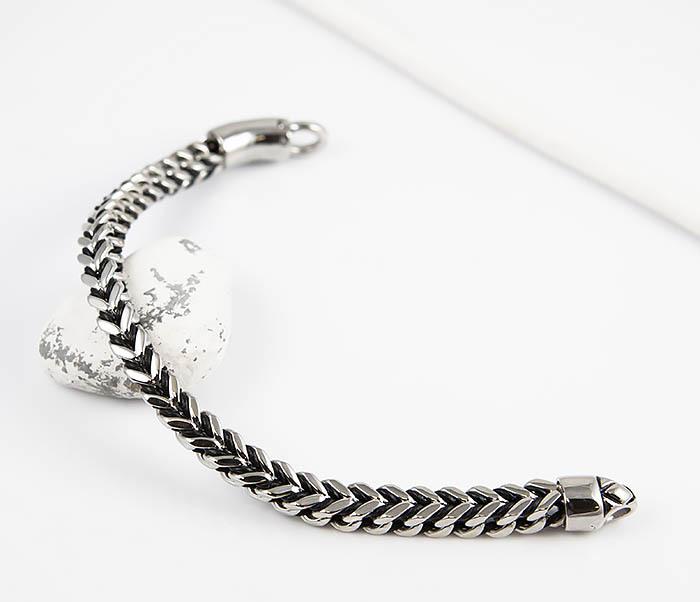 BM525-1 Мужской браслет цепь из стали и кожаного шнура (22 см) фото 02