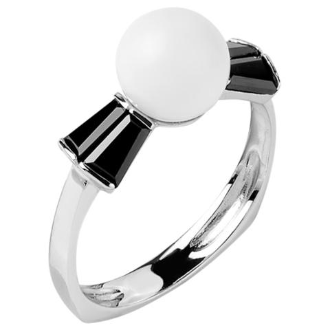 Кольцо из серебра с черной нано шпинелью и белым кварцем  Арт.1096н-шп-кв