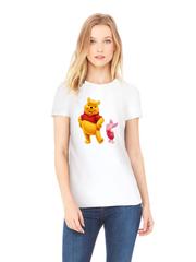 Футболка с принтом мультфильма Винни-Пух, Пятачок (Winnie the Pooh) белая w0021