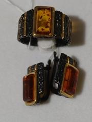 Тефа-черный (кольцо + серьги из серебра)