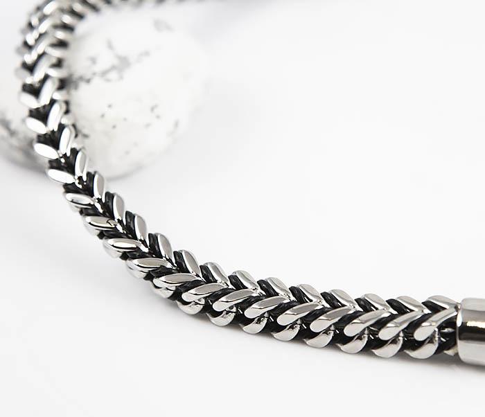 BM525-1 Мужской браслет цепь из стали и кожаного шнура (22 см) фото 03