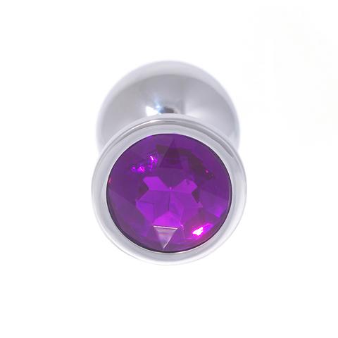 Анальная пробка с кристаллом (фиолетовый), размер M