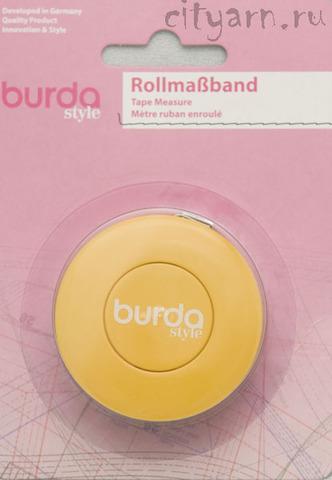Рулетка портновская Burda, длина 1.5 м, автоматическое сматывание и фиксатор, шкала в дюймах и сантиметрах, жёлтая