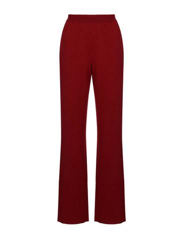 Женские брюки бордового цвета из 100% шерсти - фото 1