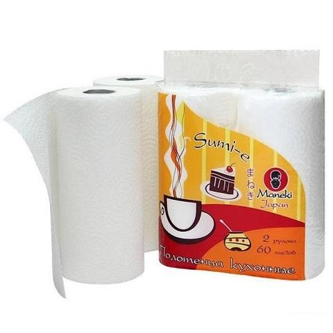 Полотенца бумажные кухонные, Maneki, Sumi-e, белые, в ассорт., 2 рулона