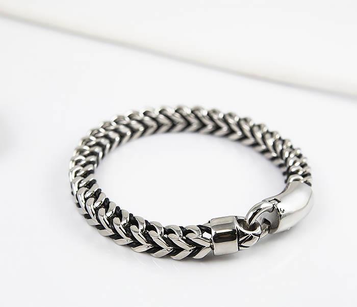 BM525-1 Мужской браслет цепь из стали и кожаного шнура (22 см) фото 04