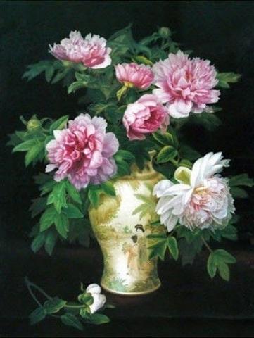 Алмазная Мозаика 38х28 Цветы в вазе на темном фоне (арт. K1749)