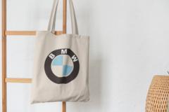 Сумка-шоппер с принтом BMW (БМВ) бежевая 005
