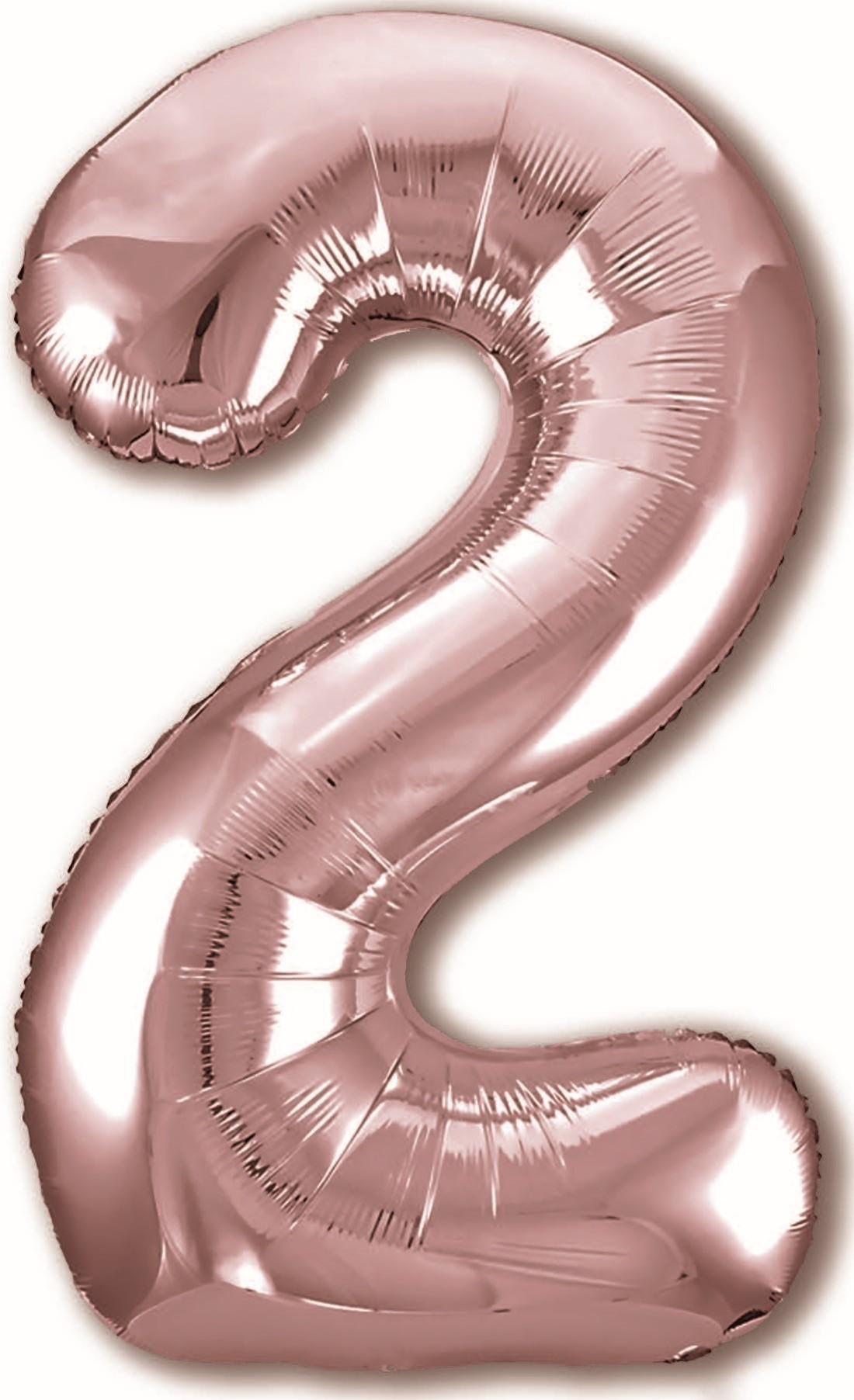 F 40''/102 см Цифра, 2 Розовое золото, 1 шт.