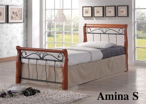 Односпальная кровать Амина металлическая с деревянными ножками 90х190 темный дуб