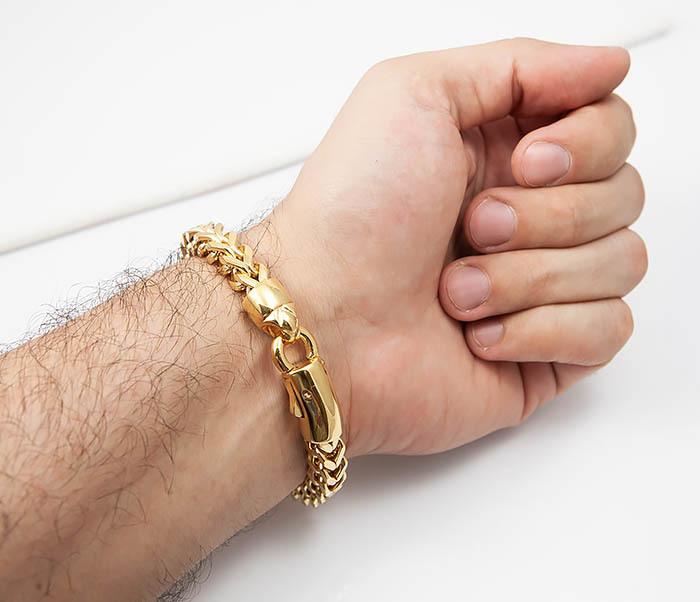 BM501-2 Мужской золотистый стальной браслет (21 см) фото 07