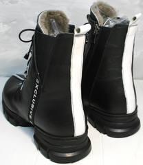 Ботинки женские на низком каблуке зимние Ripka 3481 Black-White.