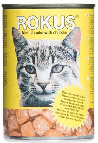 Корм «Rokus» консерв. кусочки курицы 410г