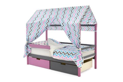 """Крыша текстильная для кровати-домика Svogen """"зигзаги, графит, лаванда, бирюза"""""""