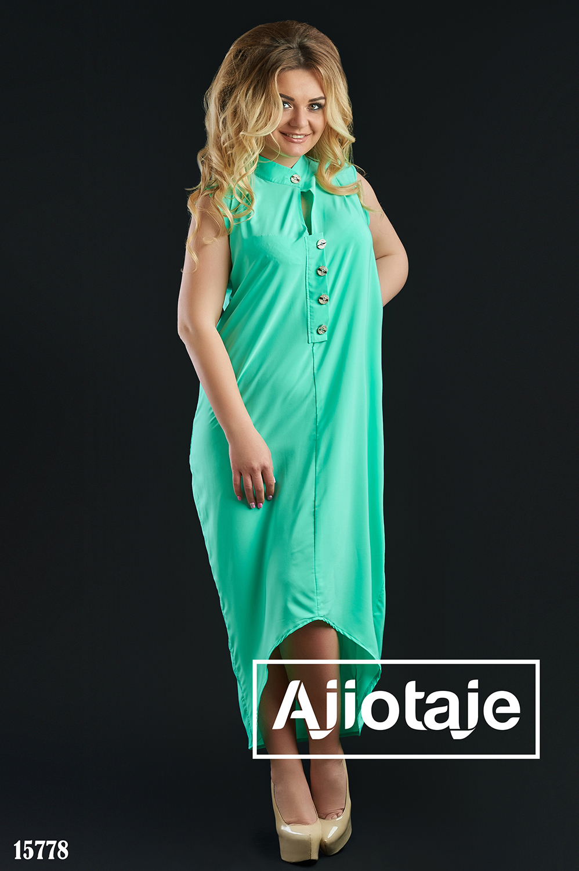 Ассиметричное платье с воротником стойка