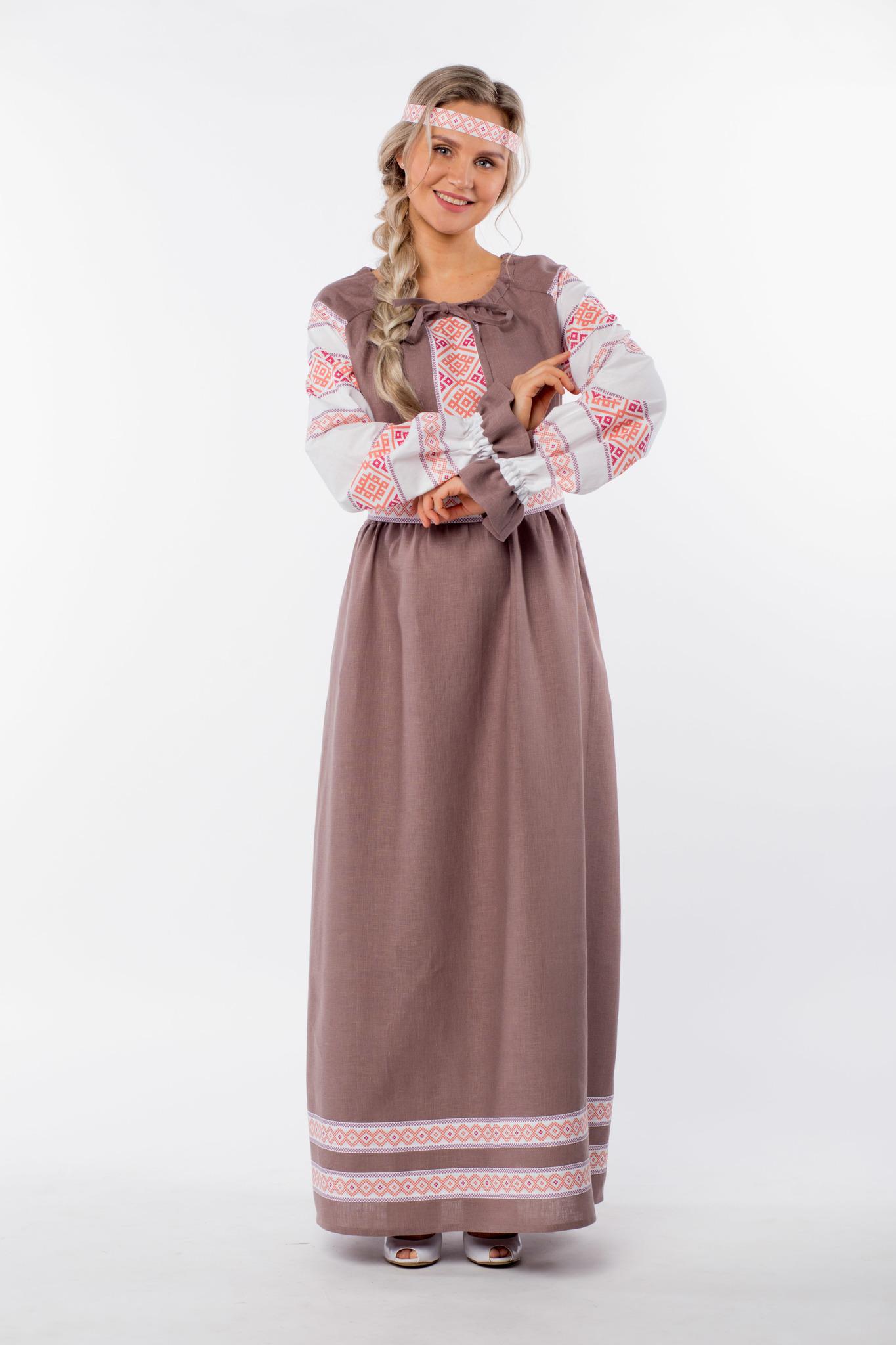 Платье льняное Родные берега с очельем