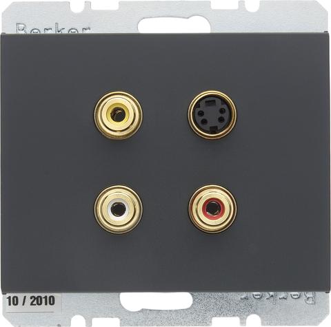 Розетка тройная RCA/S-Video. Цвет Антрацит. Berker (Беркер). K.1. 3315327006. Цвет Антрацит. Berker (Беркер). K.1. 3315327006