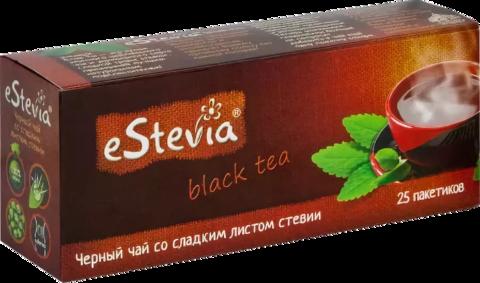 Чай черный eStevia со сладким листом стевии, 25 пакетиков