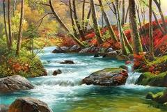 Картина раскраска по номерам 50x65 Речка среди деревьев