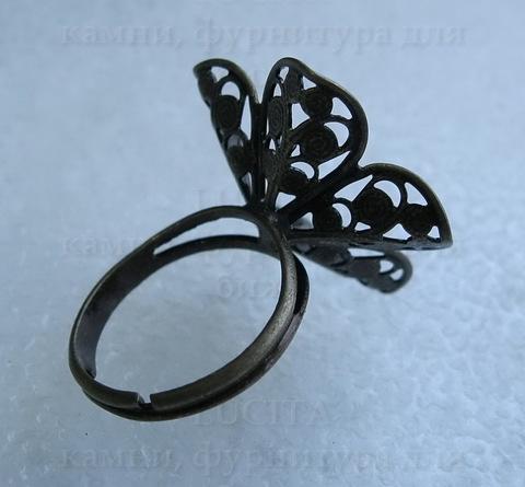 Основа для кольца с филигранным цветком 24 мм (цвет - античная бронза) ()