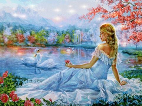 Алмазная Мозаика 40x50 Девушка смотрит на лебедей (арт. VR1015)