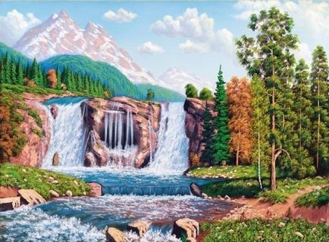 Картина раскраска по номерам 40x50 Водопад в далеко от гор (арт. RA3223)