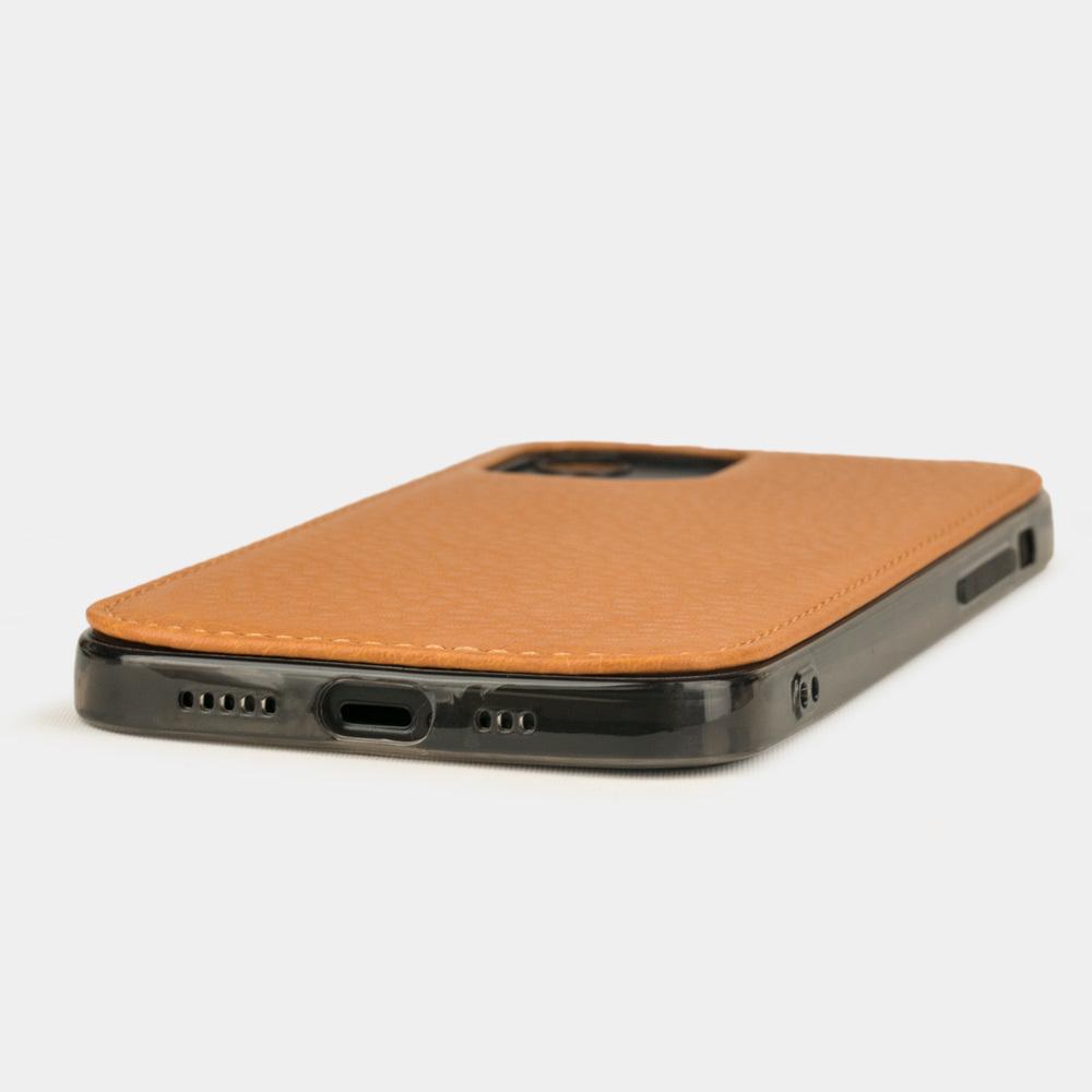 Чехол-накладка для iPhone 12/12Pro из натуральной кожи теленка, золотого цвета
