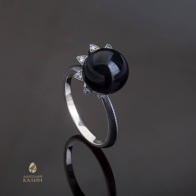 NEW! Кольцо с черным нефритом и серебром Sola Кольцо_сола_черное_1.jpg