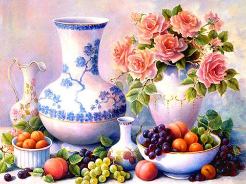 Алмазная Мозаика 40x50 Натюрморт фрукты на столе (арт. TCH8480 )