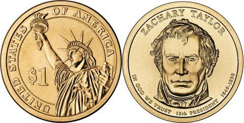 1 доллар 12-й президент США Джеймс Закари Тейлор 2009 год