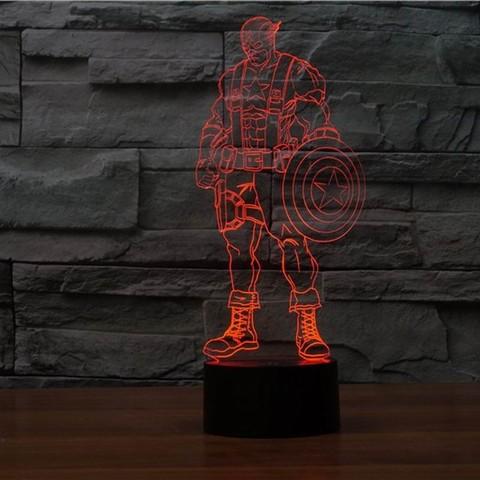 3D светильник Капитан Америка 2 — 3D light Captain America