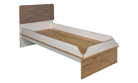 Кровать односпальная Вуди 11.01 Моби 90х200 дуб золотой, белый, савана латте