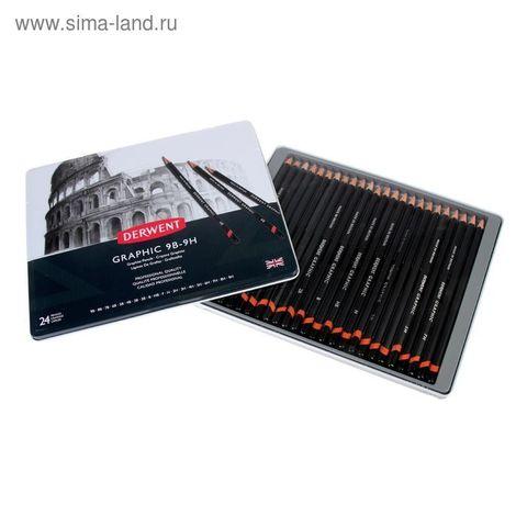 Набор чернографитных карандашей GRAPHIC 24шт в метал.упаковке