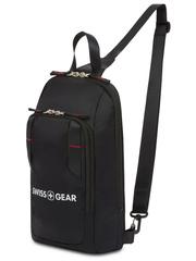 Рюкзак Swissgear с одним плечевым ремнем, черный, 18x5x33 см, 4 л