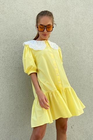 Хлопковое платье с воротом
