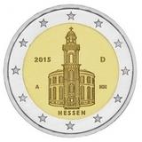 Германия 2015 год 2 евро Гессен двор случайный UNC из ролла, Федеральные земли Германии